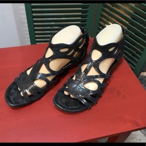 Donald J Pliner Black Gladiator Wedge Sandals